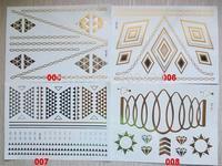 100 pcs per lot Non-toxic Metallic Gold & Silver Skin Temporary Tattoo Metallic Tattoo sticker