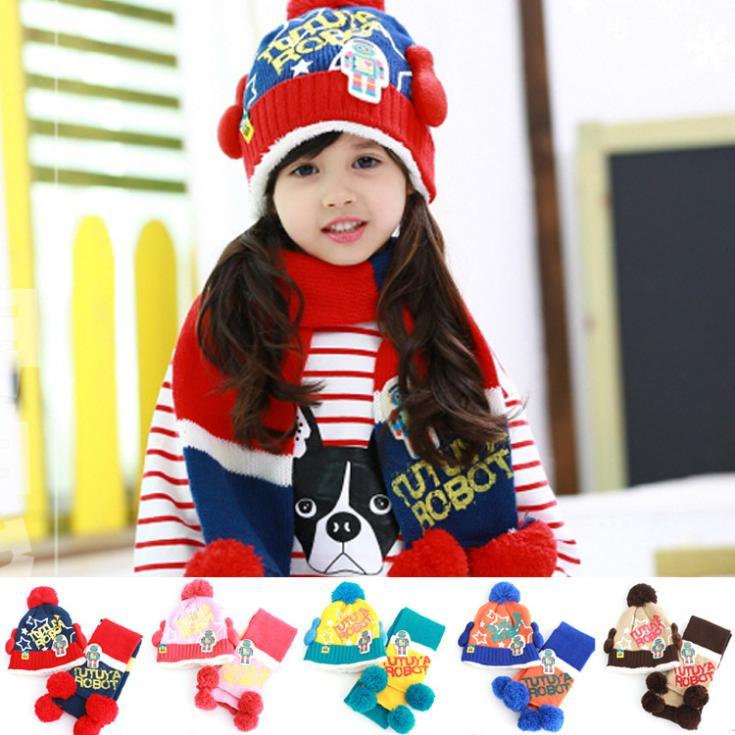 Зима робот модели большой бархат шляпа два частей комплект, мальчик и девочка в