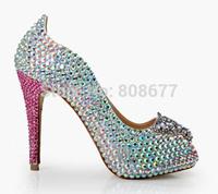 Crystal Rhinestone Perfect Bridals Wedding Dress Shoes Pearl Women Fashion Open Toe  Pumps Shoes High Heels Women