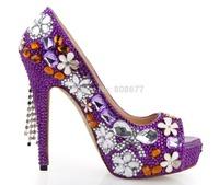 Fashion Discount Handcraft  Diamond High Heels Wedding Dress Shoes 2014 Purple Tassel Platform Peep Toe Pumps