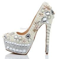 Free Shipping Luxury Diamond Platform High Heels Women Wedding Party Shoes Flowers Pearl Crystal Rhinestone Pumps Shoes 16cm