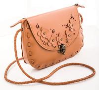 New 2014 womens leather weave bag shoulder bags bolsa small vintage Hollow Out handbags sling messenger bag designer satchels