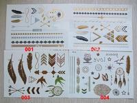 DHL free shipping 200 pcs per lot Non-toxic Metallic Gold & Silver Skin Temporary Tattoo Metallic Tattoo sticker
