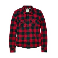 Red cotton 2014 fall and winter women long sleeve shirt plaid casual clothing Korean style OL Free shipping