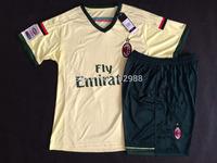best quality 2014/15 AC Milan yellow soccer jersey & shorts uniform set, TORRES KAKA EL SHAARAWY football shirt equipment kit
