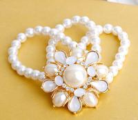 Free Shipping New European Luxury sunflower pearl bracelet Bracelet Fashion Chunky Statement Jewelry For Women
