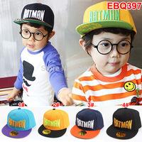 (4 Colors )New Brand Bboy Child hip-hop hat , 2014 Letter Batman SNAPBACK Hat Adjustable Flat caps for Kids 3-7T Free Shipping