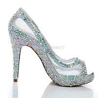 Sexy Discount High Heels Wedding Dress Shoes 2014 Peep Toe Crystal Rhinestone Mesh Pumps