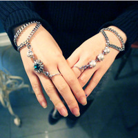 Free Shipping New South Korean vintage hollywood crystal blue ribbons braided crystal bracelet chain fashion bracelets for women