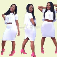 2014 New Fashion Women Sexy Slim Two Pieces Dress Ladies High O-Necked Bandage Bodycon Dress White Short Sleeve Vestido de festa