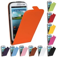 Pure Color Open Up And Down Genuine Leather Flip Shell Stand Phone Cover Case For Samsung Galaxy S3 I9300 +Gift One Stylus Pen