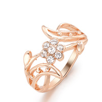 Free shipping  Fashion Jewelry Luxury 18K Gold plated Red Mouth crystal CC Ring for Women