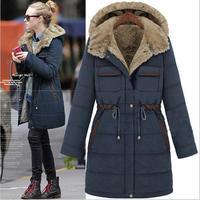 2014 new women coat Long style Multiple pockets Single breasted Adjustable Waist Thick Hooded jacket women winter jacket