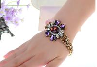 Free Shipping new European vintage bracelet fashion atmosphere glass gem flower bracelet Party Gift Jewelry For Women