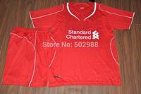 Best quality 2014/15 Liverpool red soccer jersey & shorts uniforms,Liverpool BALOTELLI GERRARD COUTINHO football shirt kit 2015