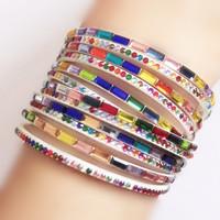 2014 new hot fashion color crystal bracelet Korean version the multi-layer braided bracelet jewelry