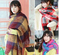 Hot sale big warm mohair korean style soft women fashion patchwork scarf wrap,free shipping