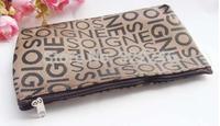 24pc/lot Factory Sale Fashion Words cosmetic bag make up bag  beauty bag 19*11cm  KB918-10
