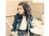 FREE SHIPPING 2014 Spring girl fly agaric sleeve denim jacket, children's denim jacket for girls wholesale