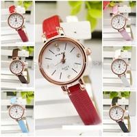 Wholesale!5pcs/lot  Lady Women Dress Watch fashion casual Synthetic Leather Strap Analog Quartz Sport Wrist Watches 6 Colors