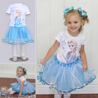 2014 Frozen Dress Elsa & Anna Summer Dress + Elsa Print T-shirt + Lace Leggings t Princess Dresses Girls Dress  Kids Wear