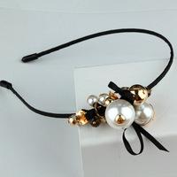 Korean version retro metal exaggerated fashion handmade pearl hair hoop headband hair accessories female headdress
