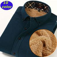 New  2014  winter men Warm Thick  Liner Corduroy shirt Casual fashion  Solid   long sleeve  DXJR-001  XS S  M L XL XXL 3XL 4XL
