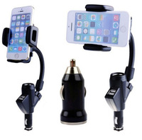 Free Shipping 2014 New Arrival Dual USB Cigarette Lighter Car Charger Universal Mobile Phone Mount Stand Holder for PDA GPS MP3