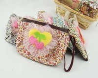 50pc/lot Factory Sale Fashion National trend flower printing cosmetic bag make up bag  coin bag  12*9cm  KB918-15