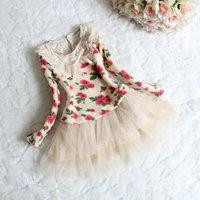 2014 new Autumn 100% cotton Korean long sleeve princess flower girl's dress 4 pcs/lot