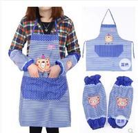 Korean fashion cartoon bear apron retaining sleeve cuff cooking tools waterproof anti-oil apron kitchen tools household items