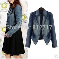New 2014 Fashion Women Denim Jacket Plus Size Slim Ladies Blue Lovely Long-sleeve Outwear Jeans Jacket Coat XL-5XL