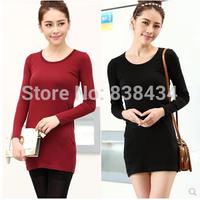 Female long-sleeved shirt 100% cotton t-shirt 2014 Hitz solid blouses t -shirt Slim small shirt tide compassionate