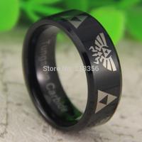Free Shipping USA UK CANADA RUSSIA Brazil Hot Selling 8MM Shiny Black Beveled LEGEND Of ZELDA &Triforce Tungsten Wedding Ring