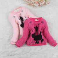 2014 Korean deer kids base shirt Thick lamb wool long sleeve Wither baby girls fur sweater with villi inner 4 pcs/lot