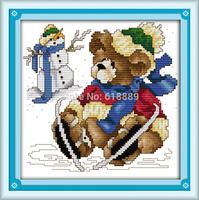 January Bear Counted Cross Stitch Sets 11CT 14CT DMC Cross Stitch DIY Cross Stitch Kits for Embroidery Home Decor Needlework