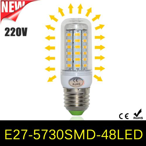 1Pcs New Arrival 48LEDs SMD 5730 12W E27 LED Corn Bulb AC 220V 240V Ultra Bright 5730SMD LED lamp Spot light Chandelier lighting(China (Mainland))