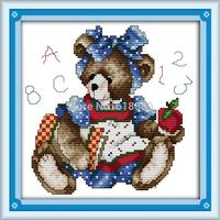September Bear Counted Cross Stitch 11CT 14CT DMC Cross Stitch DIY Cross Stitch Kits for Embroidery Home Decor Needlework