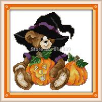 October Bear Counted Cross Stitch 11CT 14CT DMC Cross Stitch DIY Cross Stitch Kits for Embroidery Home Decor Needlework