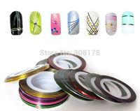 New Fashion Beauty 100pcs Mixed Colors Rolls Striping Tape Line Nail Art Tips Decoration Sticker