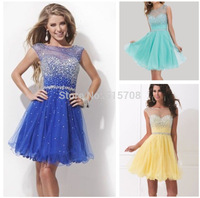 Sweet A Line Scoop Cap Sleeve Beaded Tulle Girl Cocktail Short Mini Prom Party Homecoming Dresses 2014 Blue Yellow Green