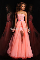 2014 The New High-Grade Sweetheart Strapless Lace Tights Detachable Tail Baou Organza Prom Dress