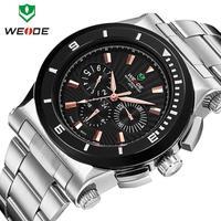 New arrival 2014 WEIDE Brand Luxury Fashion Watches Men Waterproof LED Clock Week Alarm Quartz Stainless Steel Watch Dropship