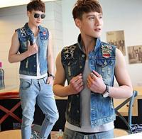 New 2014 high quality fashion Men short hole denim jeans vest, HOT casual men jeans sleeveless jacket , dark blue , M- 3XL