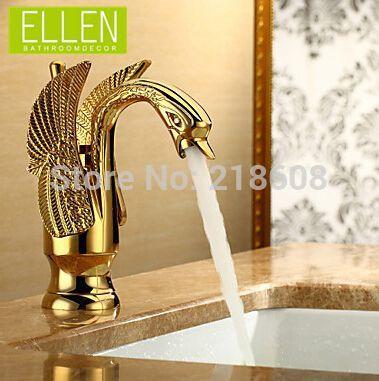 Brass bathroom swan faucet Ti-PVD gold finish single level bathroom taps torneira para banheiro(China (Mainland))
