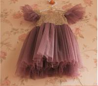 Wholesale New Summer Sequin Girls Dress Purple Sequied Party Dress For Kids Children Mesh Dress
