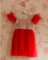 Wholesale 5pcs/lot New Summer Sleevless Paillette Sequin Girl Dress Red Kids Sequins Mesh Dress Tulle Dresses Children