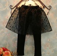2014 Autumn Transparent Dot Organza Girls Skirt Leggings Knitted Kids Leggings with skirt Black
