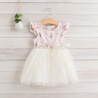 Girls summer new baby children floral stripe dresses  EJ404DS-02FC