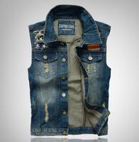 2014 Men's Denim Plus Size M-3XL Vest Free Shipping Men Brand Cowboy Vest Denim Sleeveless Jacket